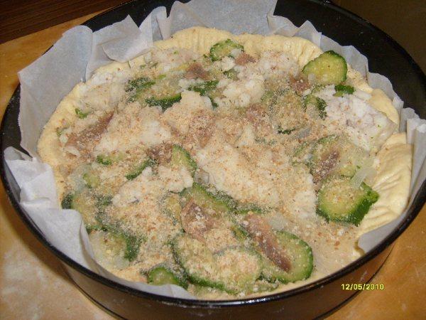 Tortino di merluzzo con zucchine.