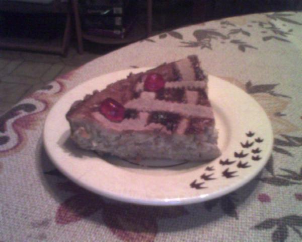 fetta di torta di grano con crema pasticcera
