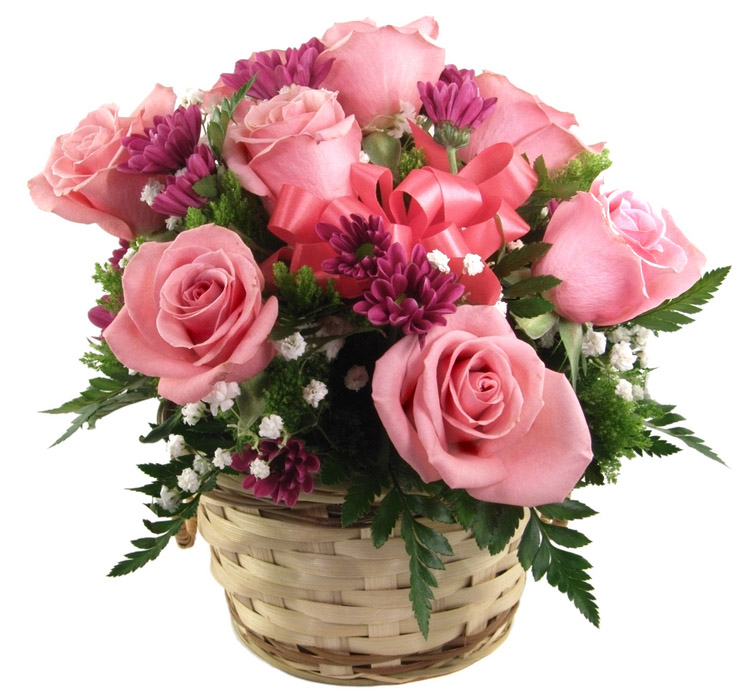 basket-of-pink-roses